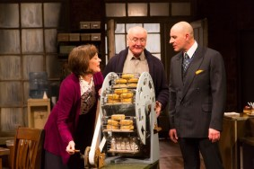 """""""Other People's Money"""" by Jerry Sterner, at Long Wharf Theatre in New Haven, Conn., through Dec. 18. Pictured: Karen Ziemba, Edward James Hyland, and Jordan Lage. (Photo by T Charles Erickson)"""