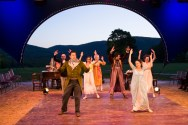"""""""Pride and Prejudice,"""" adapted by Kate Hamill from Jane Austen, at Hudson Valley Shakespeare Festival in Garrison, N.Y., through Sept. 4. (Photo by T Charles Erickson)"""