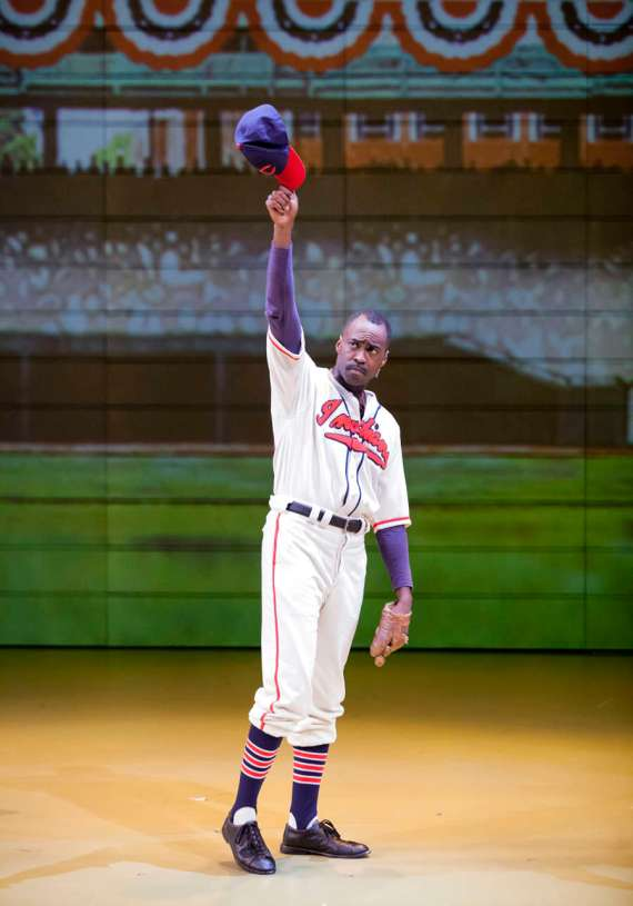 """""""Satchel Paige and the Kansas City Swing"""" by Trey Ellis and Ricardo Khan, at Cincinnati Playhouse in the Park, through May 22. Pictured: Robert Karma Robinson. (Photo by Mikki Schaffner)"""