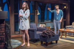 """""""Sex With Strangers"""" by Laura Eason, at Wellfleet Harbor Actors Theater in Wellfleet, Mass., through June 10. Pictured: Nichole Hamilton and Jon Kovach. (Photo by Michael and Suz Karchmer)"""