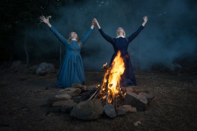 """""""The Crucible"""" by Arthur Miller, at Arkansas Repertory Theatre in Little Rock, Ark., through Nov. 13. Pictured: Stephanie Lanbourn and Gracyn Mix. (Photo by John David Pittman)"""