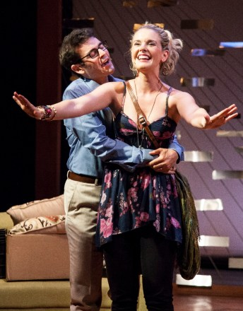 """""""The God of Isaac"""" by James Sherman, at Florida Studio Theatre in Sarasota, Fla., through Aug. 28. Pictured: Sid Solomon and Rachel Moulton. (Photo by Matthew Holler)"""