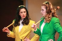 """""""Heathers: The Musical"""" by Kevin Murphy and Laurence O'Keefe, a Kokandy Productions show at Theater Wit in Chicago, through April 24. Pictured: Rochelle Therrien and Haley Jane Schafer. (Photo by Emily Schwartz)"""