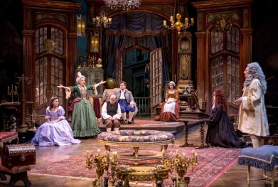 """""""The Heir Apparent"""" by David Ives, at Chicago Shakespeare Theater through Jan. 17. Pictured: Cliff Saunders, Nate Burger, Emily Peterson, and Jessie Fisher. (Photo by Liz Lauren)"""