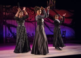 """""""The House That Will Not Stand"""" by Marcus Gardley, at Victory Gardens Theater in Chicago through July 10. Pictured: Aneisa Hicks, Diana Coates, and Angela Alise Johnson. (Photo by Michael Courier)"""