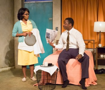 """""""The Mountaintop"""" by Katori Hall, at People's Light in Malvern, Pa., in 2016. Pictured: Patrese D. McClain and Bowman Wright. (Photo by Mark Garvin)"""