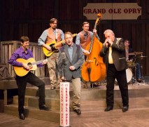 """""""Ring of Fire: The Music of Johnny Cash,"""" by Richard Maltby, Jr., William Meade, Steven Bishop, and Jeff Lisenby, at People's Light in Malvern, Penn., through Aug. 14. Pictured: David M. Lutken, Eric Scott Anthony, Jon Brown, Michael Hicks, and Neil Friedman. (Photo by Mark Garvin)"""