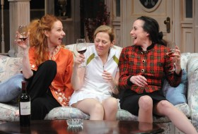 """The Sisters Rosenweig"" by Wendy Wasserstein, at Theater J in D.C., through Feb. 21. Pictured: Susan Lynskey, Kimberly Schraf, and Susan Rome. (Photo by Stan Barouh)"