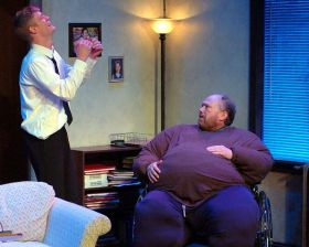 """""""The Whale"""" by Samuel D. Hunter, at Unicorn Theatre in Kansas City, Mo., through March 27. Pictured: Jacob Aaron Cullum and Phil Fiorini."""