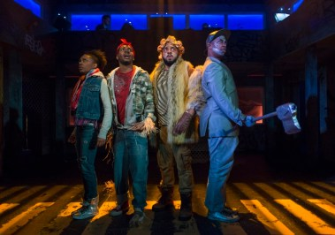 """""""The Wiz,"""" by Charlie Smalls and William F. Brown, presented by Kokandy Productions at Theater Wit in Chicago, through April 16. Pictured: Sydney Charles, Gilbert Domally, Chuckie Benson, and Steven Perkins. (Photo by Michael Brosilow)"""