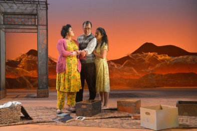 """A Thousand Splendid Suns,"" adapted by Ursula Rani Sarma from Khaled Hosseini, at American Conservatory Theater in San Francisco, through Feb. 26. Pictured: Nadine Malouf, Barzin Akhavan, and Denmo Ibrahim. (Photo by Kevin Berne)"