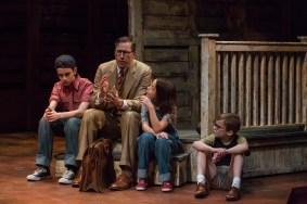"""""""To Kill a Mockingbird"""" adapted by Christopher Sergel from Harper Lee, at Indiana Repertory Theatre in Indianapolis, through Feb. 28. Pictured: Grayson Molin, Ryan Artzberger, Paula Hopkins, and Mitchell Wray. (Photo by Zach Rosing)"""