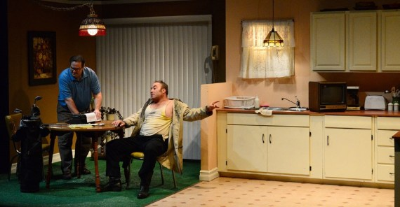 """""""True West"""" by Sam Shepard, at Road Less Traveled Productions in Buffalo, N.Y., through Nov. 20. Pictured: David Mitchell and Matt Witten. (Photo by Gina Gandolfo-Lopez)"""