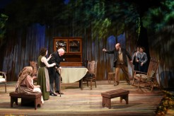 """""""Uncle Vanya"""" adapted by Annie Baker from Chekov, at the Warehouse Theatre in Greenville, S.C., through Feb. 20. Pictured: Shirley Sarlin, Angelina Mussro, Ronn Carroll, Will Ragland, Rachel Jeffreys, and Jessica Crandall. (Photo by Wallace Krebs)"""