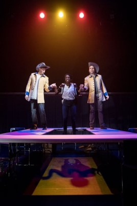 """""""We Are Proud to Present"""" by Jackie Sibblies Drury, at Guthrie Theater in Minneapolis, through March 12. Pictured: Quinn Franzen, Nike Kadri, and Sam Bardwell."""