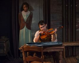 """""""Winterset"""" by Maxwell Anderson, at Griffin Theatre Company in Chicago through Dec. 23. Pictured: Kiayla Jackson and Chris Acevedo. (Photo by Michael Brosilow)"""