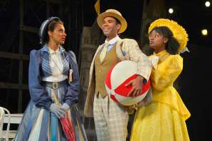 """""""You Never Can Tell"""" by George Bernard Shaw, at California Shakespeare Theater in Orinda, Calif., in 2016. Pictured: Sabina Zuniga Varela, Lance Gardner, and Khalia Davis. (Photo by Kevin Berne)"""