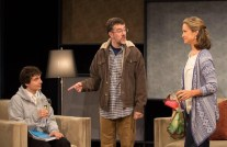 """""""According to Goldman"""" by Bruce Graham, at Act II Playhouse in Ambler, Pa. through Oct. 11. Pictured: Luke Brandt, Tony Braithwaite, and Susan Riley Stevens."""