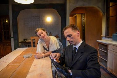 """""""After Miss Julie"""" by Patrick Marber, at Strawdog Theatre Company in Chicago through Sept. 28. Pictured: Maggie Scrantom and John Henry Roberts. (Photo by Chris Ocken)"""
