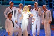 """""""Anything Goes"""" by Guy Bolton, Howard Lindsay, P. G. Wodehouse, Russel Crouse and Cole Porter, at Center REPertory Theatre in Walnut Creek, Calif., through June 27. Pictured: Molly Bell, Jason Rehklau, Caleb Haven Draper, Nathaniel Rothrock, Anthony Rollins-Mullens, Ryan Cowles and Justin Buchs. (Photo by Kevin Berne)"""