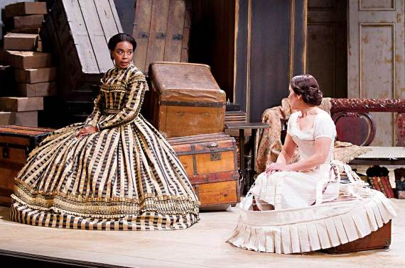 """Sameerah Luqmaan-Harris and Naomi Jacobson in """"Mary T. & Lizzy K."""" at Arena Stage in 2013. (Photo by Schott Suchman)"""