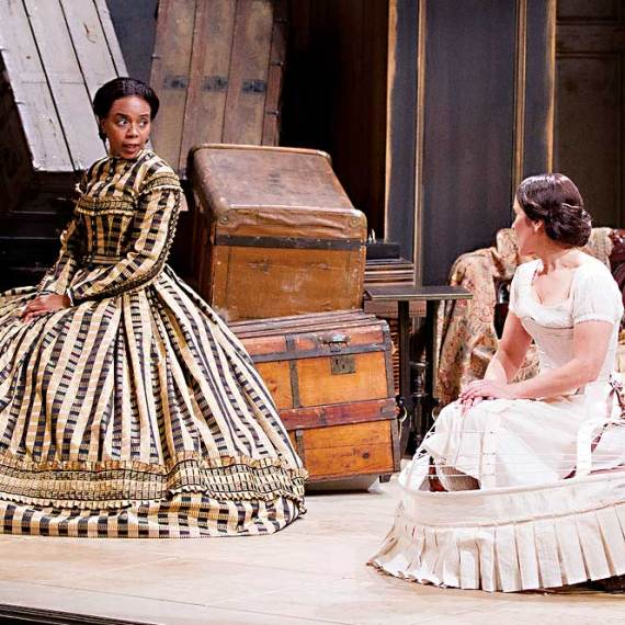 "Sameerah Luqmaan-Harris and Naomi Jacobson in ""Mary T. & Lizzy K."" at Arena Stage in 2013. (Photo by Schott Suchman)"