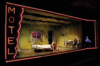 "Jennifer Blagan, Terry Hempleman, and Allen Hamilton in ""Fool for Love"" by Sam Shepard at the Jungle Theater. (Photo by Michal Daniel)"