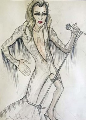 Olivera Gajic's costume sketch for Casey's Elvis costume in 'The Legend of Georgia McBride' at the Arden.