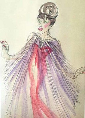 Olivera Gajic's costume sketch for Miss Tracy Mills in 'The Legend of Georgia McBride' at the Arden.