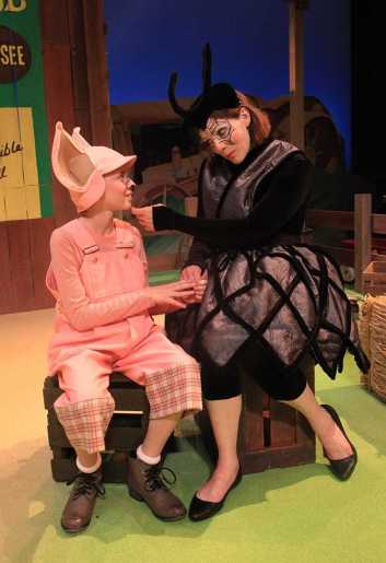 """""""Charlotte's Web,"""" adapted by Joseph Robinette from E.B. White, at Rose Theatre of Omaha, Neb., through May 10. Pictured: Austin Lempke and Miriam Gutierrez. (Photo by MJB Photography)"""