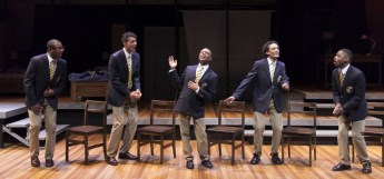 """""""Choir Boy"""" by Tarell Alvin McCraney at the Guthrie Theatre in 2015. Pictured: Darrick Mosley, Ryan Colbert, John Michael-Lyles, Nathan Barlow and Kory LaQuess Pullam. (Photo by Heidi Bohnenkamp)"""