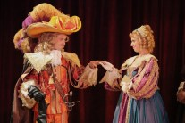 """""""Cyrano de Bergerac,"""" adapted by Anthony Burgess from Edmond Rostand, at Cincinnati Shakespeare Company in Cincinnati, Ohio, through Oct. 3. Pictured: Kyle Brumley and Caitlin McWethy. (Photo by Mikki Schaffner Photography)"""