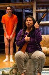 """""""Edith Can Shoot Things and Hit Them"""" by A. Rey Pamatmat, at Company One Theatre in Boston through June 27. Pictured: Eddie Shields and Maria Jan Carreon. (Photo by Paul Fox)"""