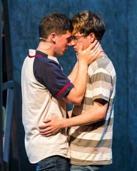"""Girlfriend"" by Todd Almond and Matthew Sweet, a Center Theatre Group at the Kirk Douglas Theatre in Culver City, Calif., through Aug. 9. Pictured: Ryder Bach and Curt Hansen. (Photo by Craig Schwartz)"