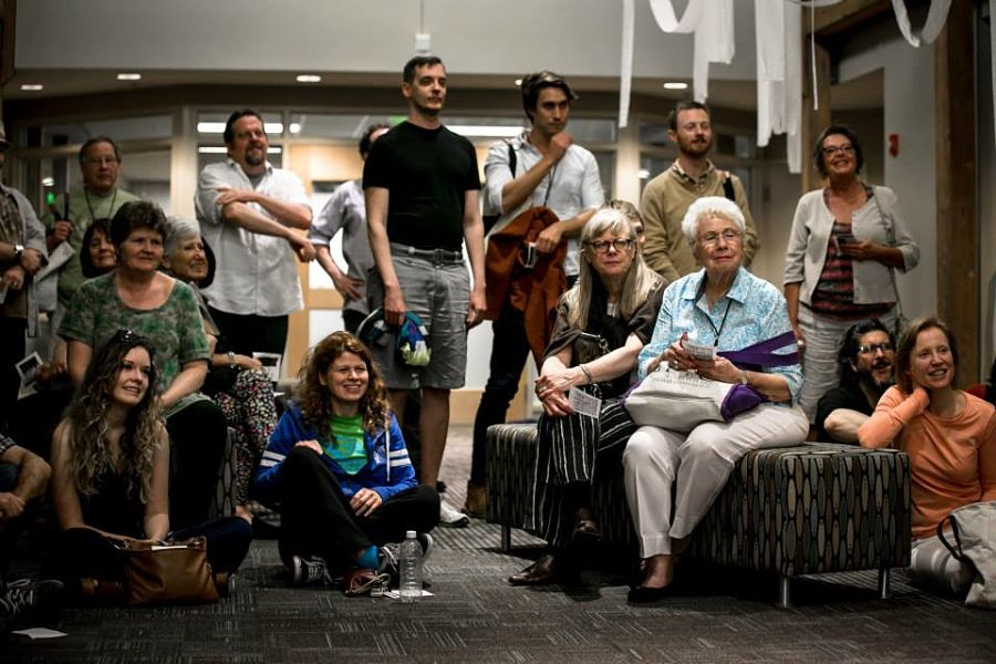 Maggie Smith and David Hilder (center) and participants at the 2015 Great Plains Theatre Conference.