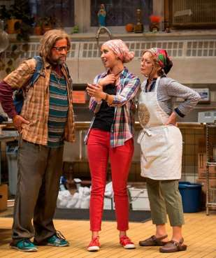 """""""Grand Concourse"""" by Heidi Schreck, at Steppenwolf Theatre in Chicago through Aug. 30. Pictured: Tim Hopper, Mariann Mayberry, and Brittany Uomoleale. (Photo by Michael Brosilow)"""