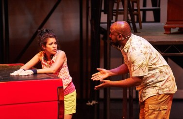 """Hands on a Hardbody,"" with a book by Doug Wright, music by Trey Anastasio and music and lyrics by Amanda Green, at the Aurora Theatre in Lawrenceville, Ga., through May 31. Pictured: Diany Rodriguez and Eric Moore. (Photo by Chris Bartelski)"
