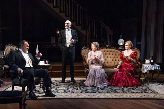 """""""The Little Foxes"""" by Lillian Hellman, at Arena Stage in Washington, D.C., through Oct. 30. Pictured: Edward Gero, Gregory Linington, Isabel Keating, and Marg Helgenberger. (Photo by C. Stanley Photography)"""