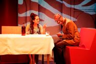 """""""Isfahan Blues"""" by Torange Yeghiazarian, a Golden Thread Productions and African-American Shakespeare Company coproduction at Burial Clay Theatre in San Francisco through May 24. Pictured: Sofia Ahmad and L. Peter Callender. (Photo by Pak Han)"""