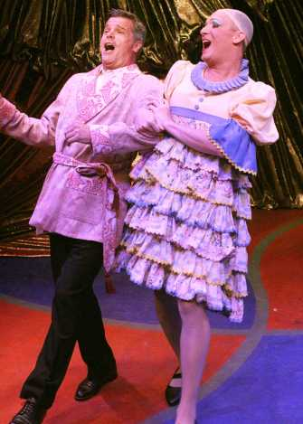 """""""La Cage Aux Folles"""" by Jerry Herman and Harvey Fierstein, at Lake Dillon Theatre Company, in Dillon, Colo., through Aug. 9. Pictured: Nat Chandler and Danny Vaccaro."""