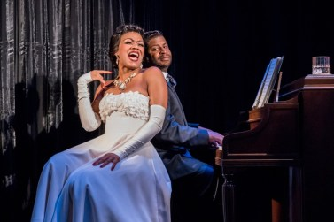 """""""Lady Day at Emerson's Bar and Grille"""" by Lanie Robertson, at Wellfleet Harbor Actor's Theatre in Wellfleet, Mass. in 2015. Pictured: Tracey Conyer Lee and Kenney M. Green. (Photo by Michael & Suz Karchmer)"""
