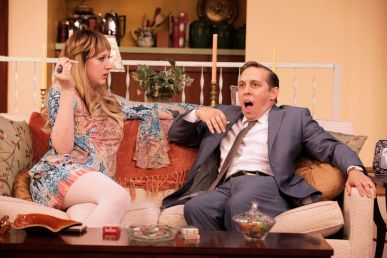 """""""Last of the Red Hot Lovers"""" by Neil Simon, at Virginia Repertory Theatre in Richmond, Va., through Aug. 30. Pictured: Maggie Roop and Scott Wichmann. (Photo by Jay Paul)"""