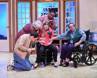 """Manicures and Monuments"" by Vicki Caroline Cheatwood, at the WaterTower Theatre in Addison, Tex., through June 28. Pictured: David Price, Elly Lindsay, Mikaela Krantz, Aigner Edgerson and Pam Dougherty. (Photo by Karen Almond)"