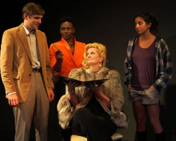 """Nobody's Girl"" by Rick Viede, at New Jersey Repertory in Long Branch, N.J., through Sept. 20. Pictured: Jacob A. Ware, Gregory Haney, Judith Hawking, and Layla Khoshnoudi. (Photo by SuzAnne Barabas)"