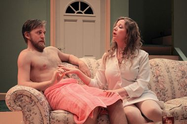 """""""One Slight Hitch"""" by Lewis Black, at American Stage Theatre Company in St. Petersburg, Fla., through Aug. 2. Pictured: Jordan Foote and Jonelle Marie Meyer. (Photo by Chad Jacobs)"""
