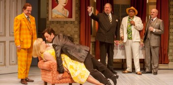 """""""One Man, Two Guvnors,"""" adapted from Carlo Goldoni by Richard Bean and Grant Olding, at the Alley Theatre in Houston through Nov. 1."""