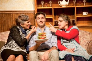 """""""Over the River and Through the Woods"""" by Joe DiPietro, at Florida Studio Theatre in Sarasota, Fla., through Aug. 9. Pictured: Marina Re, Matt Decapua, and Rita Rehn. (Photo by Matthew Holler)"""