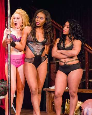 """""""Pussy Valley"""" by Katori Hall, at Mixed Blood Theatre in Minneapolis through May 10. Pictured: Megan Rippey, Jasmine Hughes and Joetta Wright. (Photo by Rich Ryan)"""
