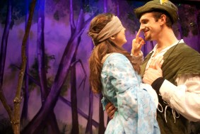 """""""Robin Hood"""" by Greg Banks, at B Street Theatre in Sacramento, Calif., through Dec. 24. Pictured: Fiona Robberson and Darek Riley. (Photo by B Street Theatre Staff)"""