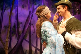 """Robin Hood"" by Greg Banks, at B Street Theatre in Sacramento, Calif., through Dec. 24. Pictured: Fiona Robberson and Darek Riley. (Photo by B Street Theatre Staff)"